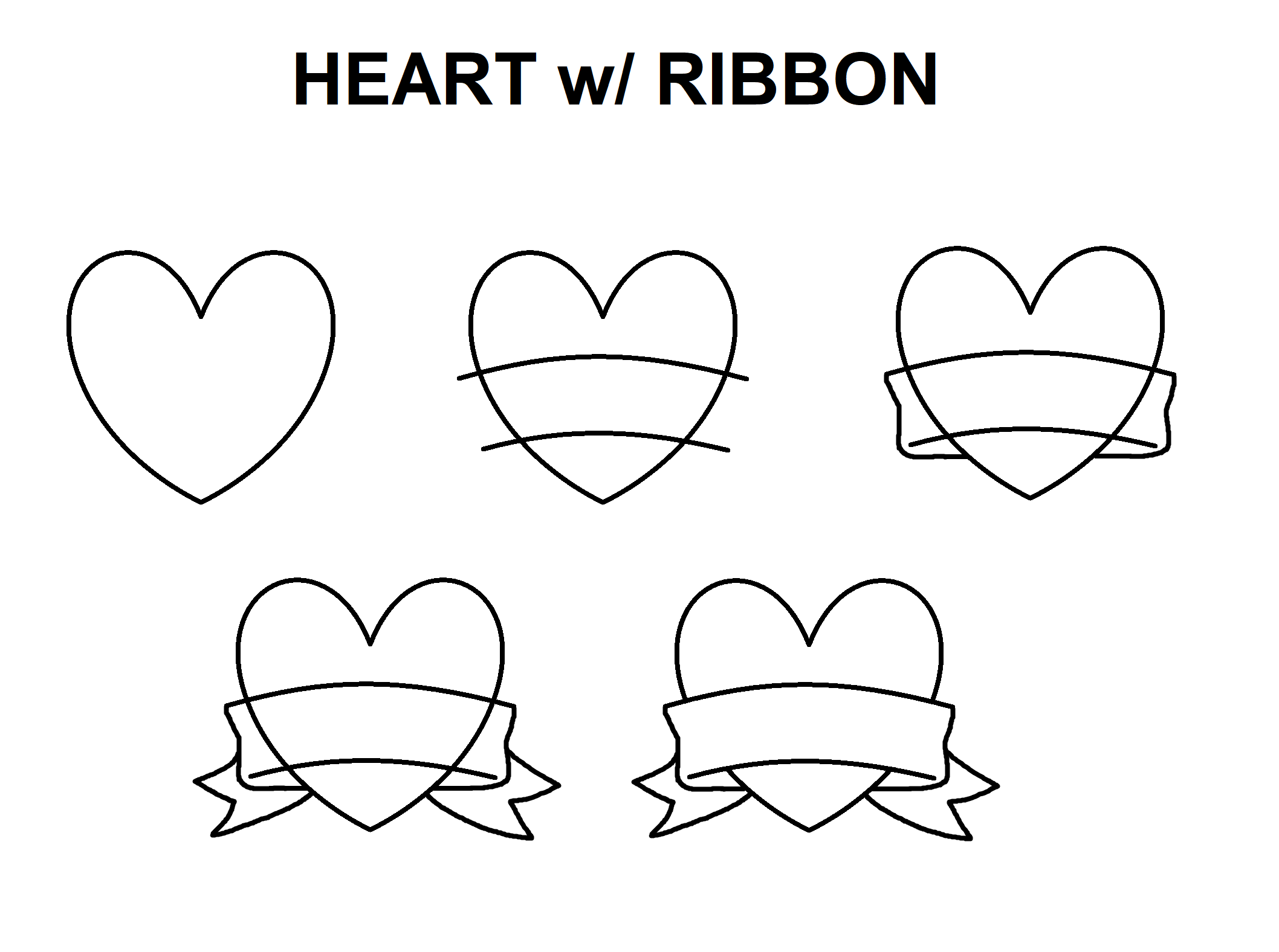 Step By Step To Draw A Heart Ribbon Banner Drawing Banner