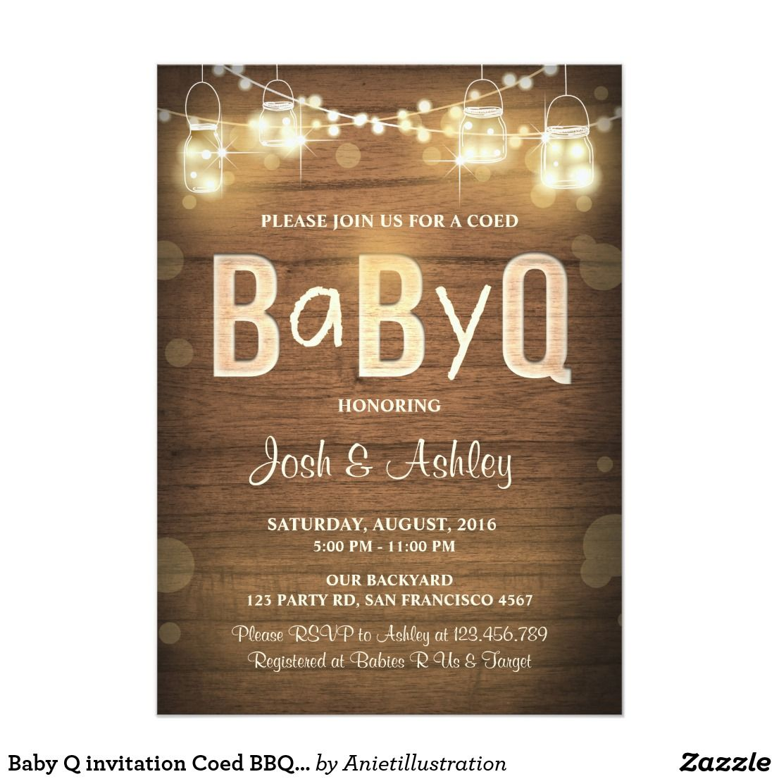 Baby Q invitation Coed BBQ Baby Shower Rustic Wood | Babies and ...