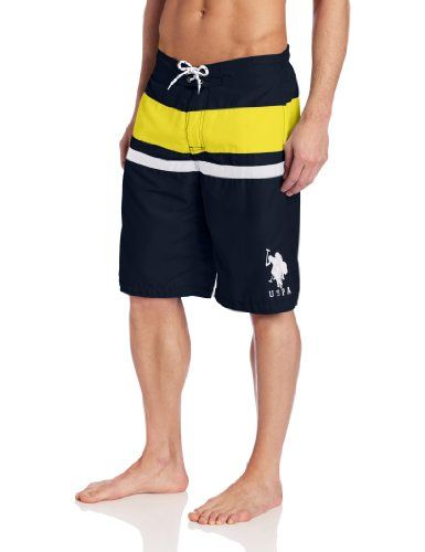74d74e6847 U.S. Polo Assn. Men's Double Color Block Short, Classic Navy, Large - Solid  swim trunk with two contrasting stripes Product Features Big pony  embroidered on ...