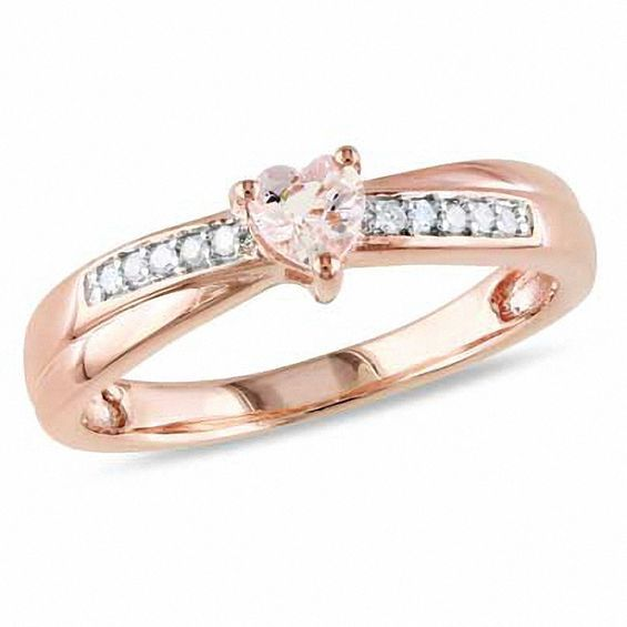 d36dfd963b0 4.0mm Heart-Shaped Morganite and 1/20 CT. T.w. Diamond Promise Ring ...