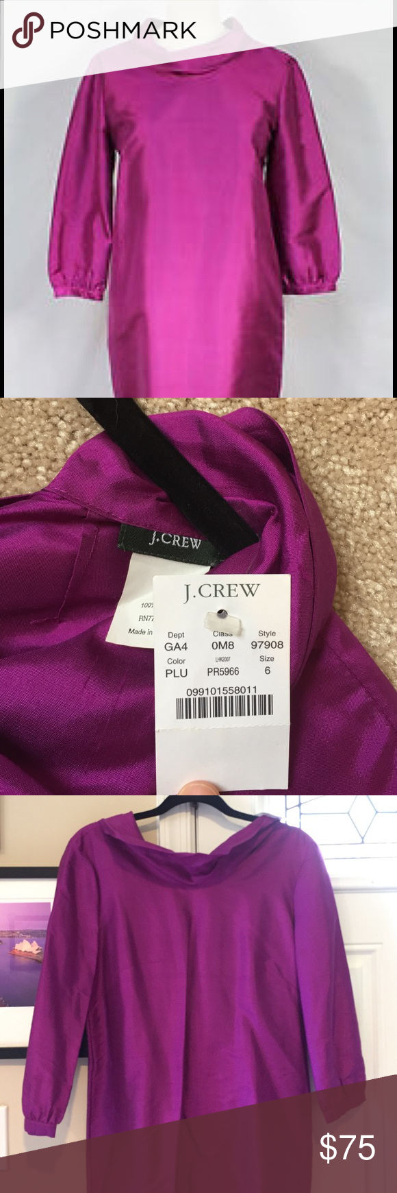 J. Crew 💯 % silk dress Perfect for the holidays. Roll neck sheath 100% silk dress in a beautiful plum color. Never been worn J. Crew Dresses Long Sleeve