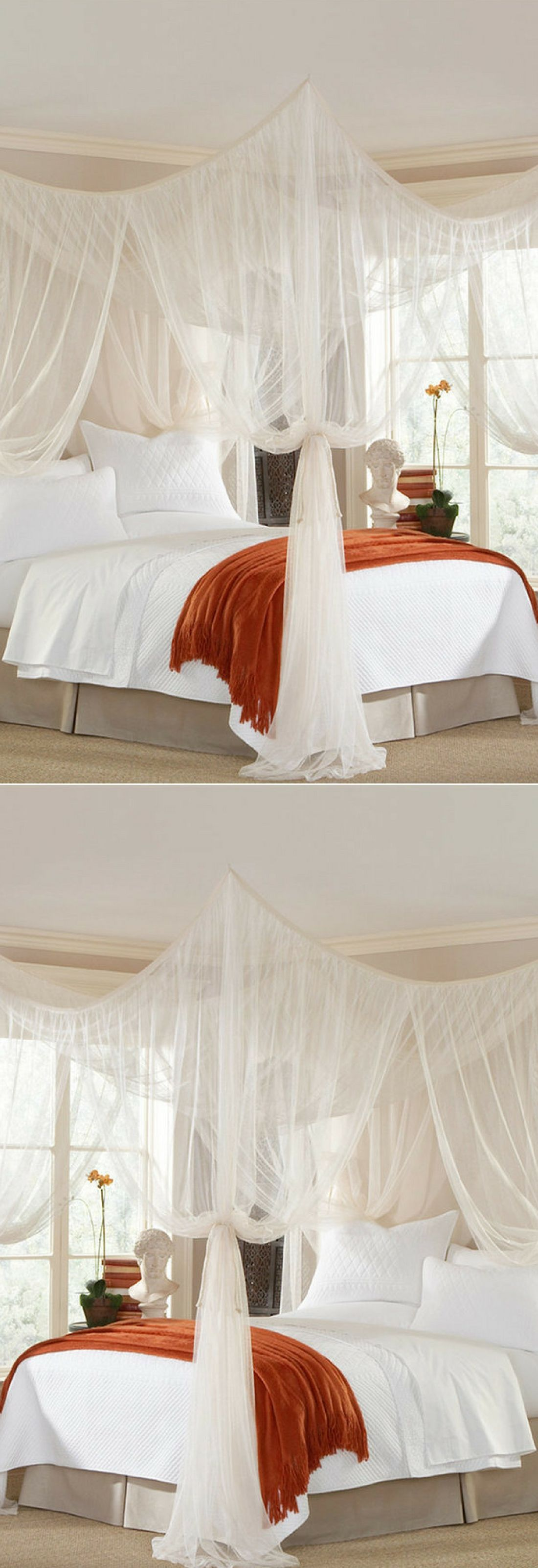 Undeniably romantic the Majesty canopy takes you away with sweeping panels of sheer mosquito netting. Hang above the bed or around a sitting area in or ... & Undeniably romantic the Majesty canopy takes you away with ...