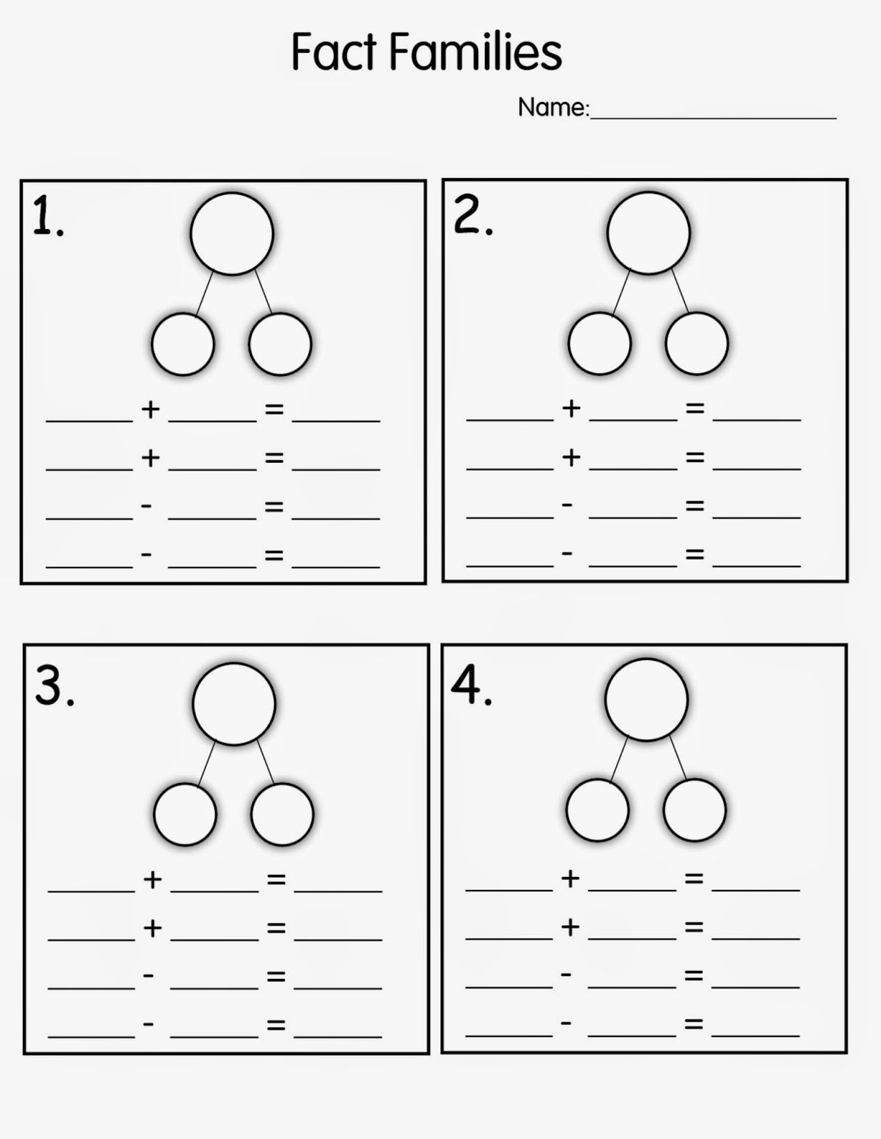 Free first grade math fact family worksheets