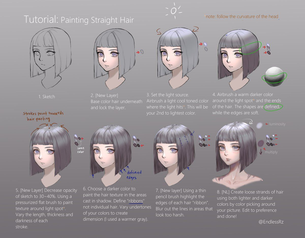 Endless On Twitter How To Draw Hair Digital Painting Tutorials Tutorial