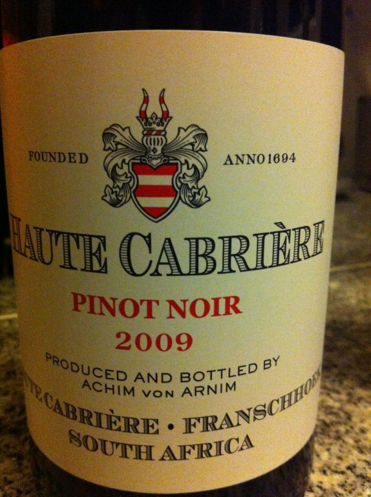 7 5 10 For This Red Haute Cabriere Pinot Noir 2009 From South