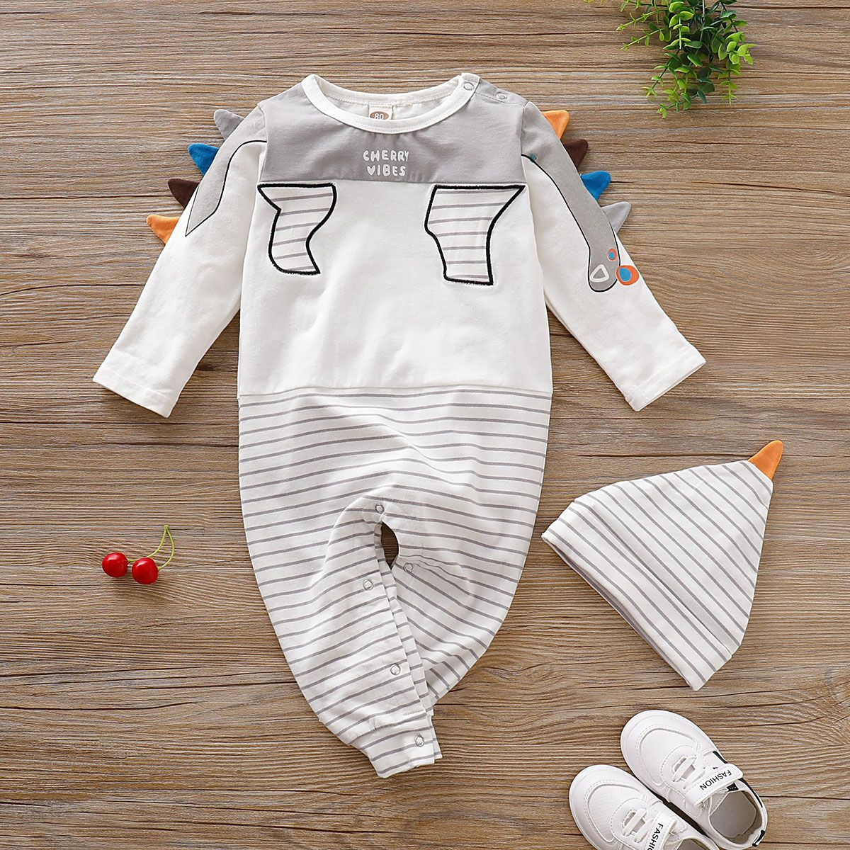 Infant Baby Girl Boy Feather Striped Romper Newborn Jumpsuits Clothes Outfit Set