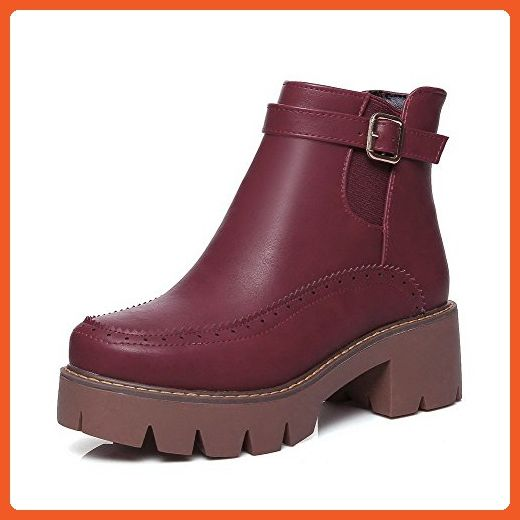 Women's Low-Heels Solid Round Closed Toe Soft Material Pull-On Boots Claret 42