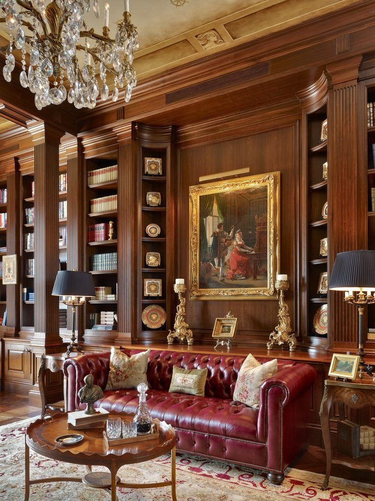 Classic Home Library Design: Image Result For Home Office With Chandelier
