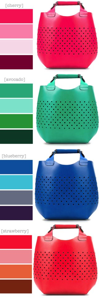 Yummy summer fruity bags from Zara.     Spotted on 'Trend and the City' http://www.trendandthecity.it/2012/05/23/color-it-up-le-borse-zara-per-lestate-2012-declinate-nei-toni-della-frutta/