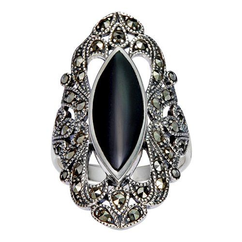 925-Sterling-Silver-Filigree-with-Marcasite-and-Black-Onyx-Gemstones-Ring
