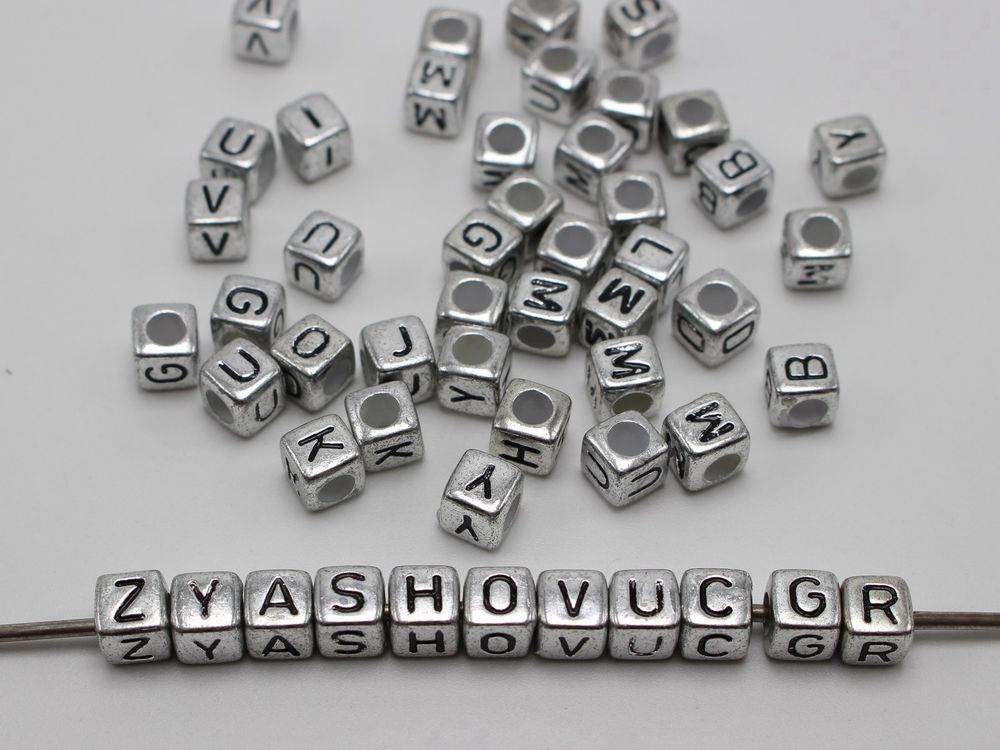 250 Acrylic silver letter beads 7mm