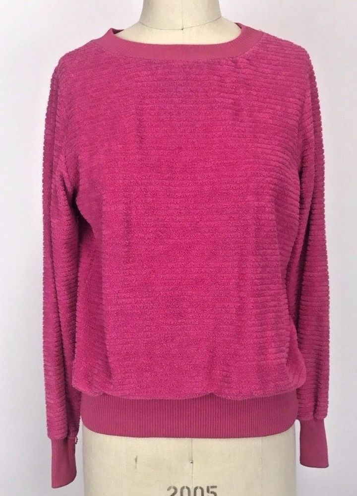 Vintage Pink V Neck Velour Sweater Athleisure Chenille Fuzzy Top ...