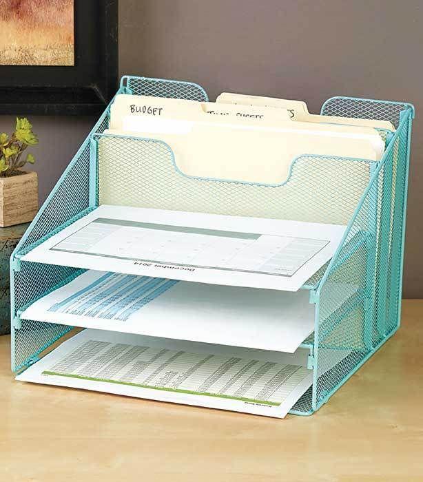 5 compartment blue wire mesh desktop file organizer paper storage ...
