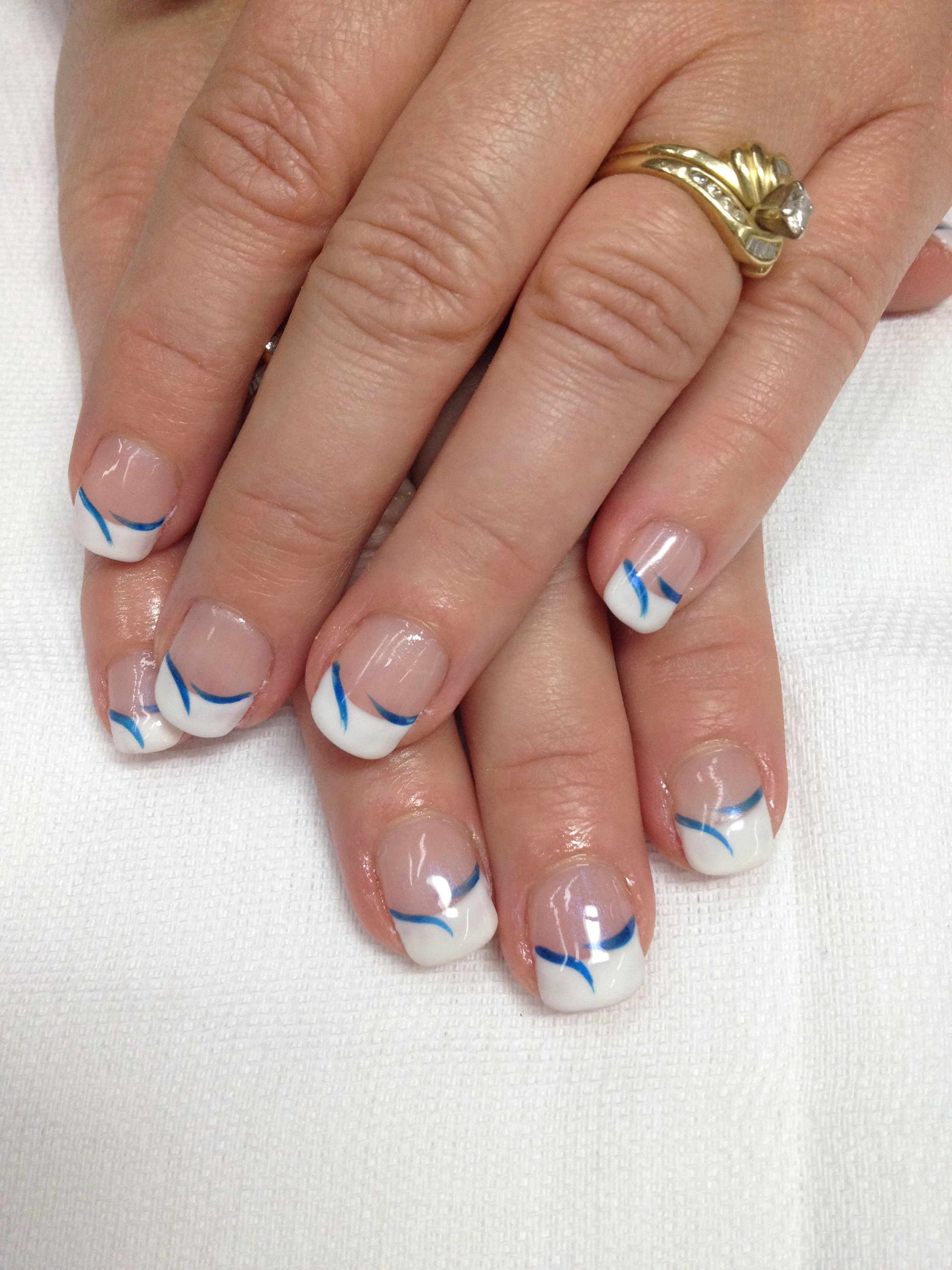 White French gel nails with royal blue accent swishes. Go Bay Port ...
