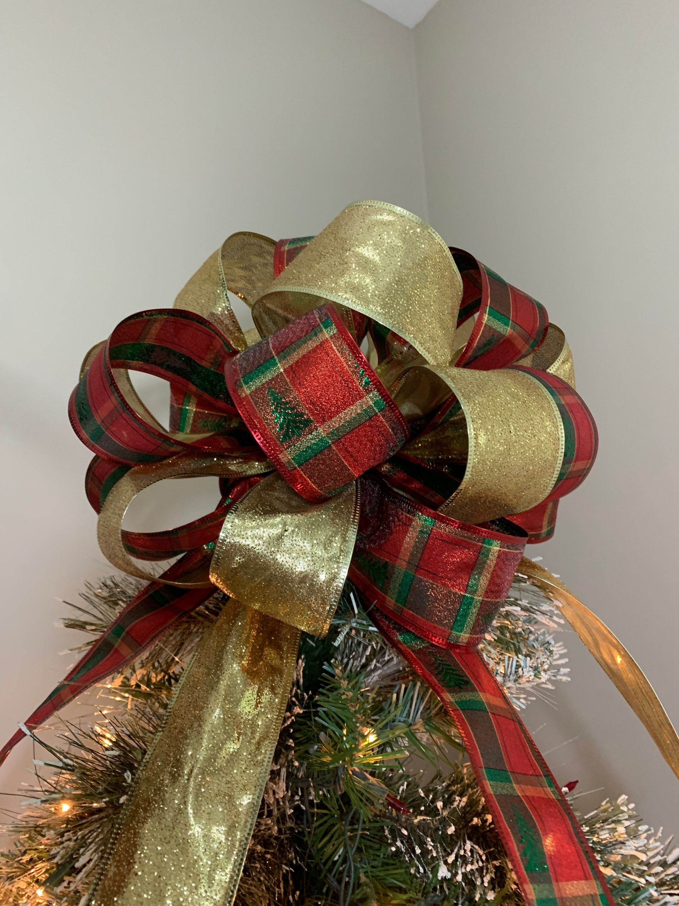 Large Christmas Tree Topper Bow Made With A Red And Green Etsy Christmas Tree Topper Bow Tree Topper Bow Large Christmas Tree