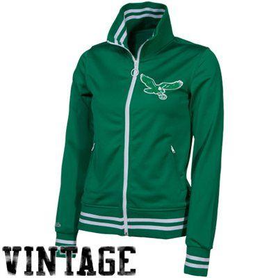 Mitchell   Ness Philadelphia Eagles Ladies Green Vintage Full Zip Track  Jacket ce66b0004