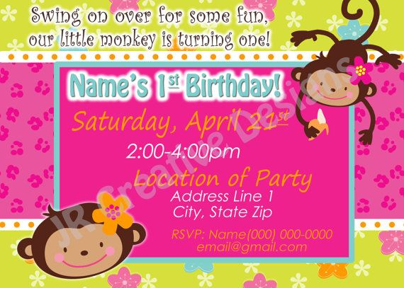 monkey love  birthday photo invite   year old  years old party, 1 year old baby birthday invitation card, 1 year old baby boy birthday invitation card, 1 year old baby invitation card