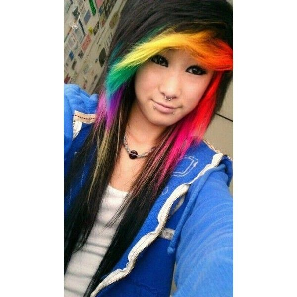 Rainbowww Awesome Hair ❤ liked on Polyvore featuring hair, girls, hairstyles and dyed hair