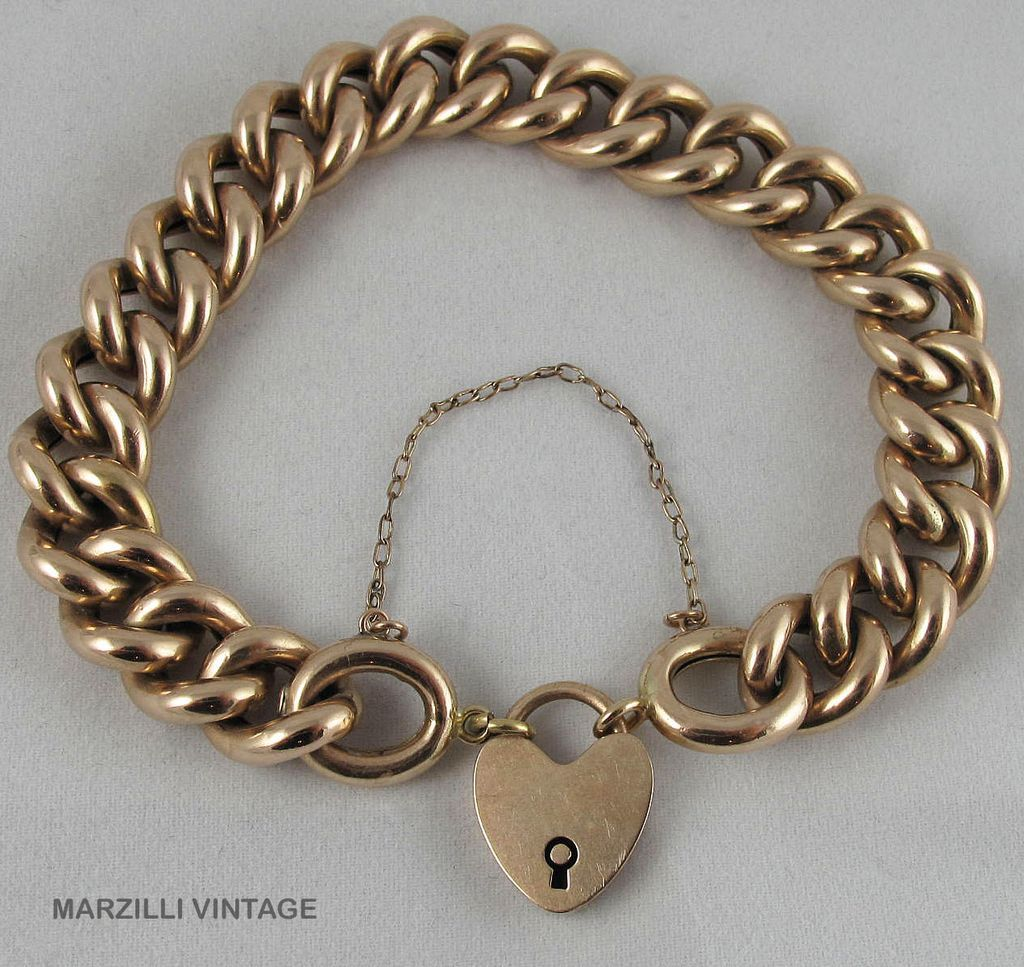Victorian 9K Gold Chunky Curb Link Bracelet With 10K Padlock Charm