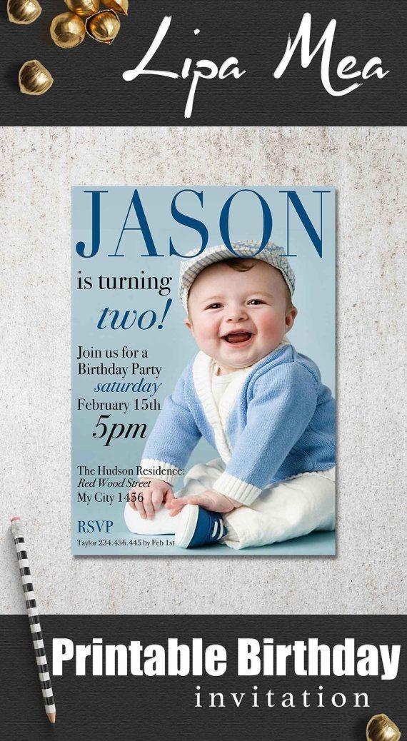 Boy Birthday Invitation Printable, Photo Birthday Invitation ...