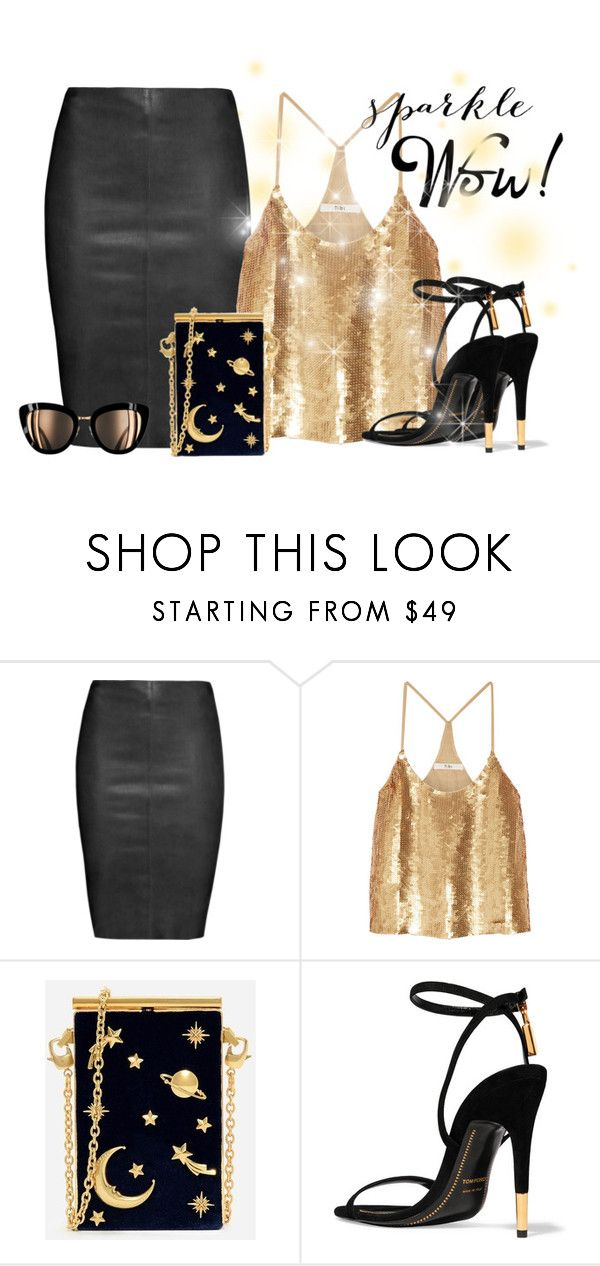 """sparkling hot date!"" by rvazquez ❤ liked on Polyvore featuring Jitrois, TIBI, CHARLES & KEITH, Tom Ford, gold, Leather, Chanel, TOMFORD and tibi"