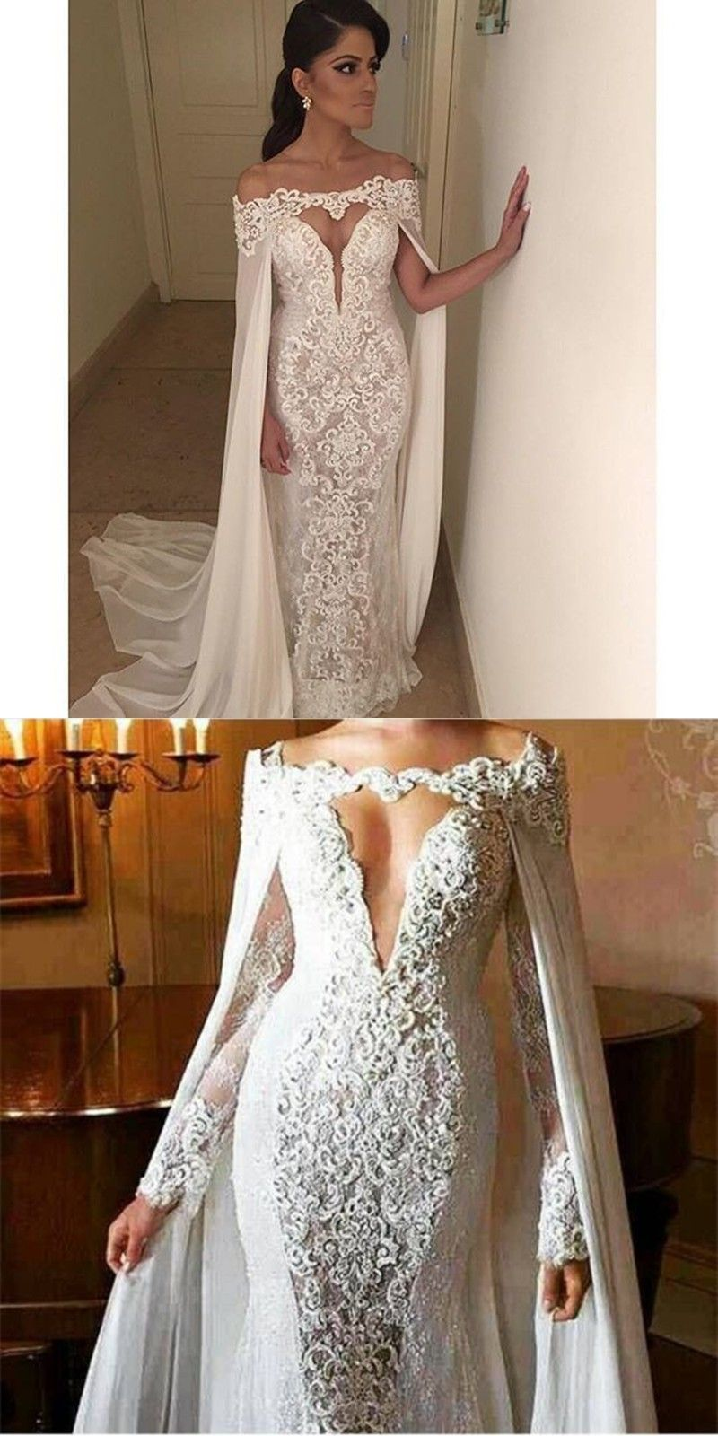Mermaid wedding dresses with sleeves  Saudi Arabia wedding dress off the shoulder sexy backless wedding
