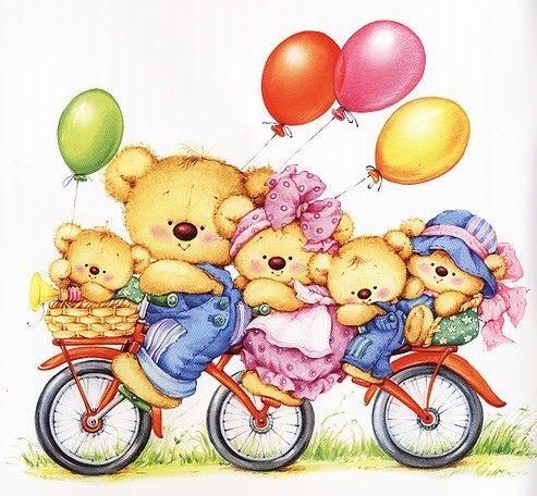 Fondo De Osos Familia En Bicicleta Y Globos Imagenes Coloridas Ilustraciones Arte Lindo