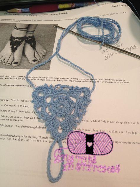 Goddess Barefoot Sandals pattern by Julie King | Hækling