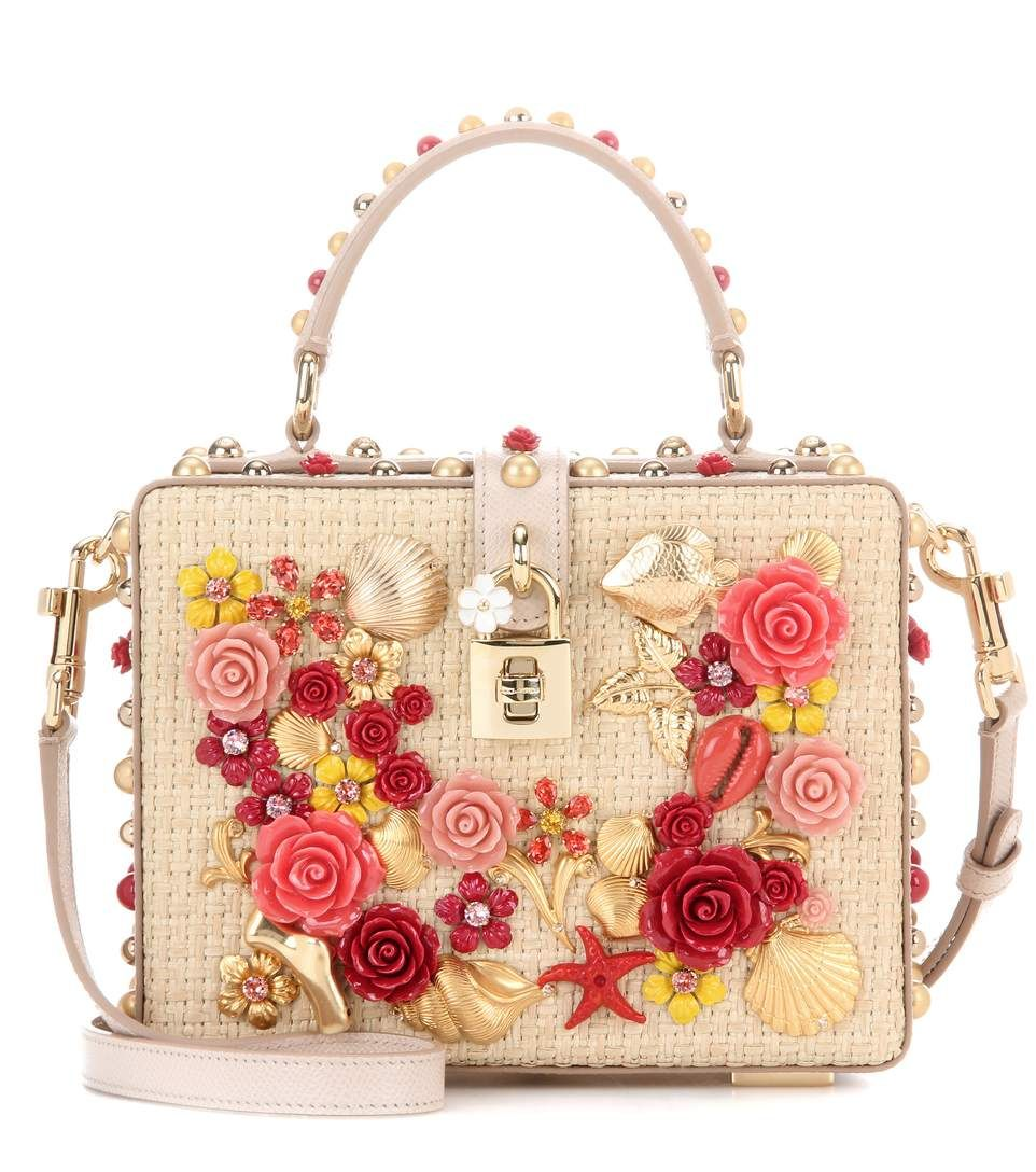 DOLCE   GABBANA Dolce Box Embellished Raffia And Leather Handbag.   dolcegabbana  bags  leather  lining  accessories  shoulder bags  hand bags   pouch   4d3c9a156a069