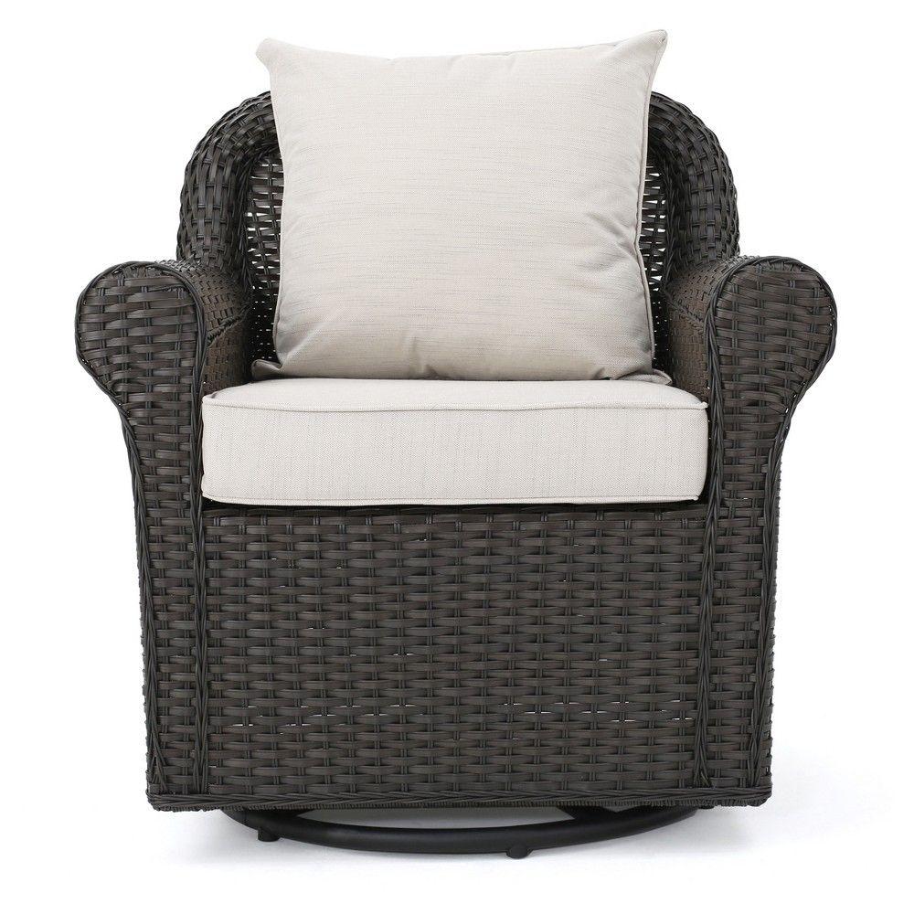 Amaya Wicker Swivel Rocking Chair Dark Brown
