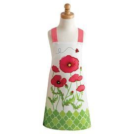 "Showcasing a playful poppies motif, this charming apron is perfect for introducing little hands to the world of cooking.  Product: ApronConstruction Material: 100% Cotton Color: MultiFeatures:  Poppy flower detailChild sizeDimensions: 21"" H x 19"" W"
