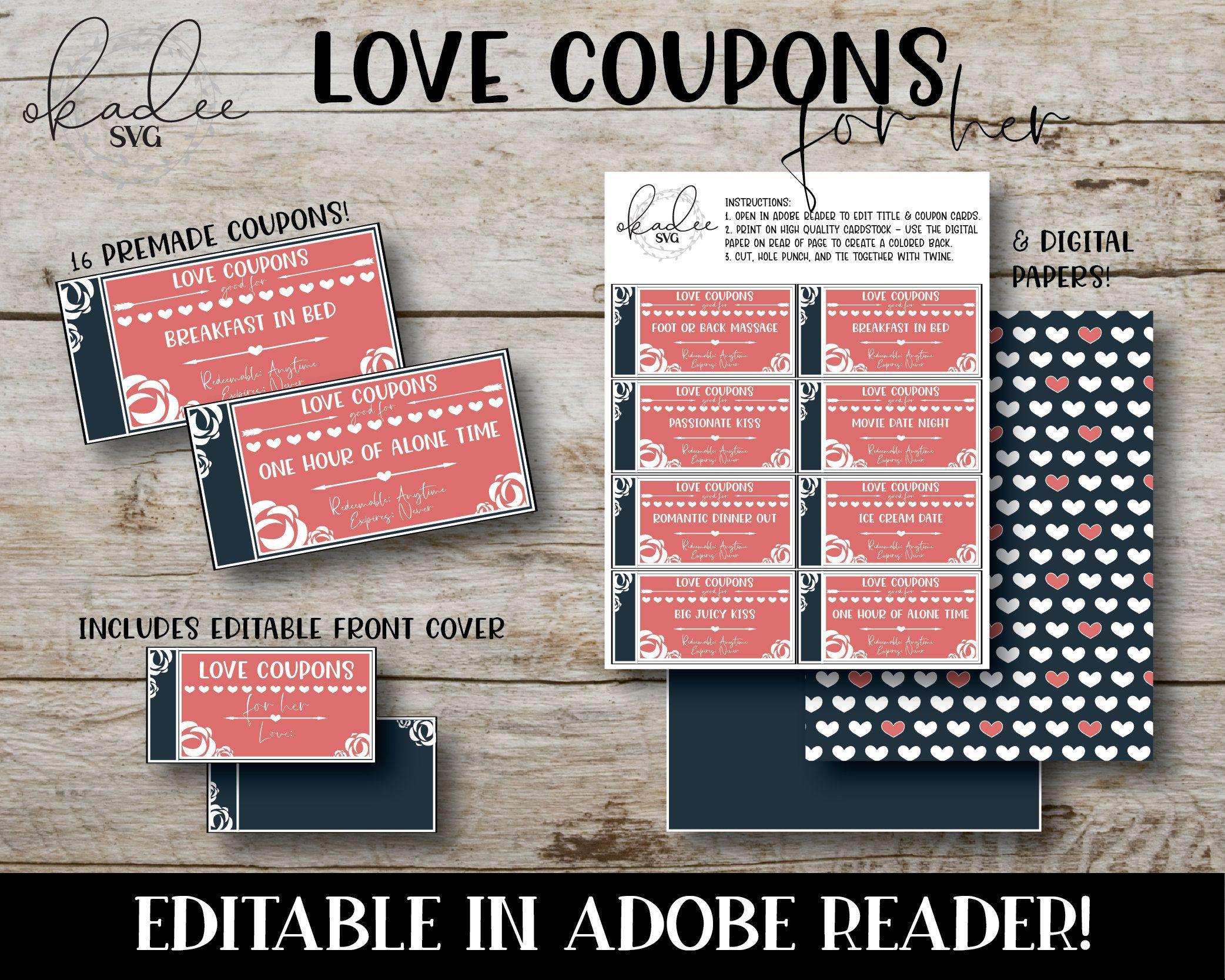 Anniversary coupon love coupon pdf editable pdf valentine