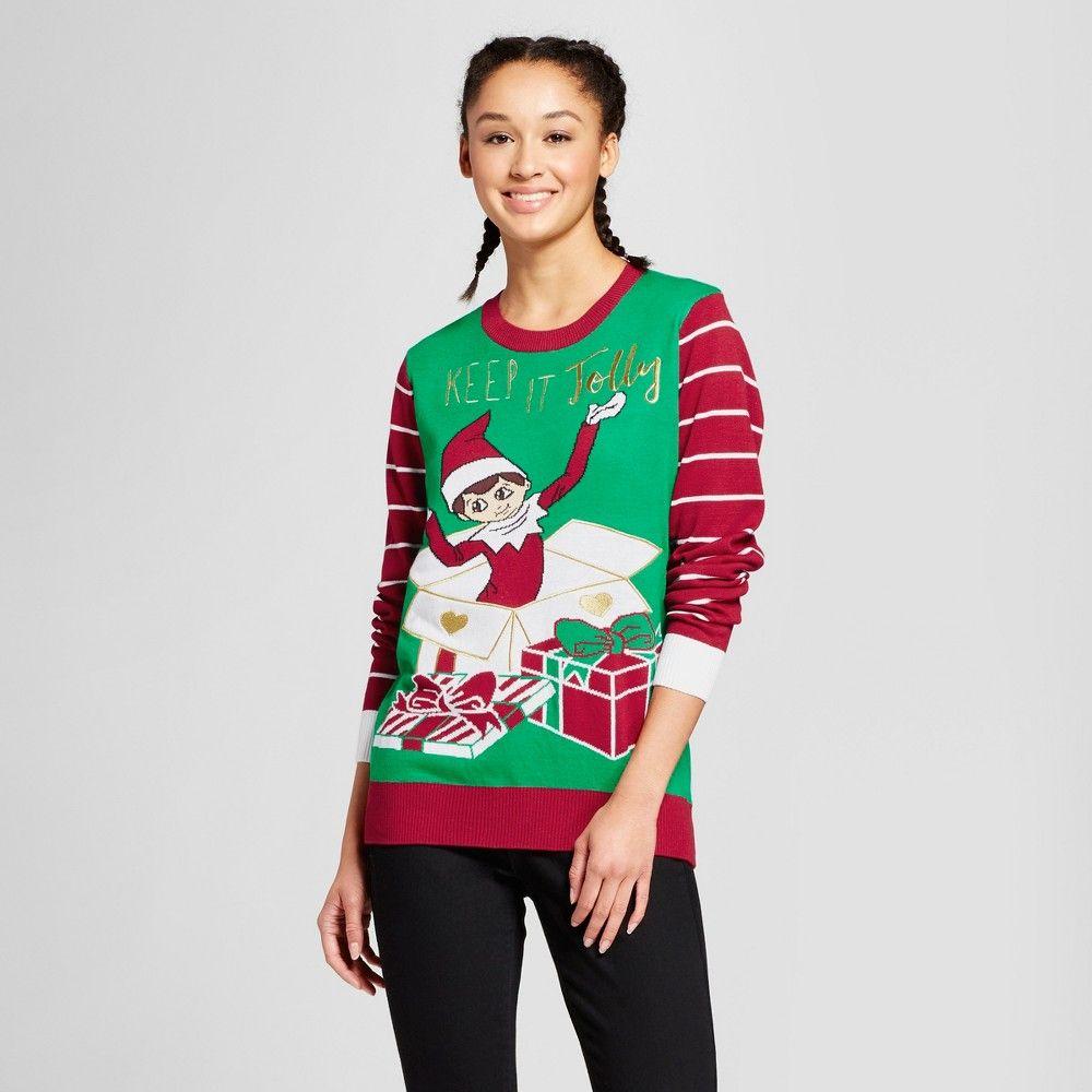 743f3749199 Women s Keep it Jolly Elf on the Shelf - Ugly Christmas Sweater - Green S