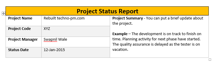 Project Status Report Template Excel – Microsoft Excel Template and ...