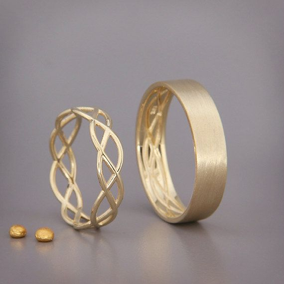14K Gold Eternity Wedding Rings Set | Handmade solid 14k gold eternity wedding Rings | His and Hers Wedding Bands Set #weddingrings