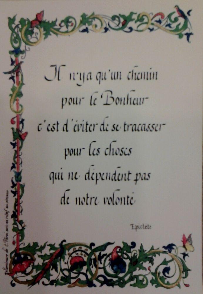 Poeme Sur Le Bonheur Calligraphié Et Enluminé Doré En
