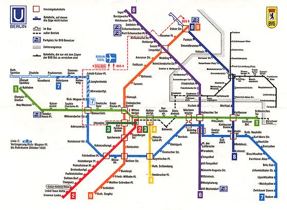 U Bahn Plan 1980 Inkl Mauer West Berlin Berlin City Berlin Wall