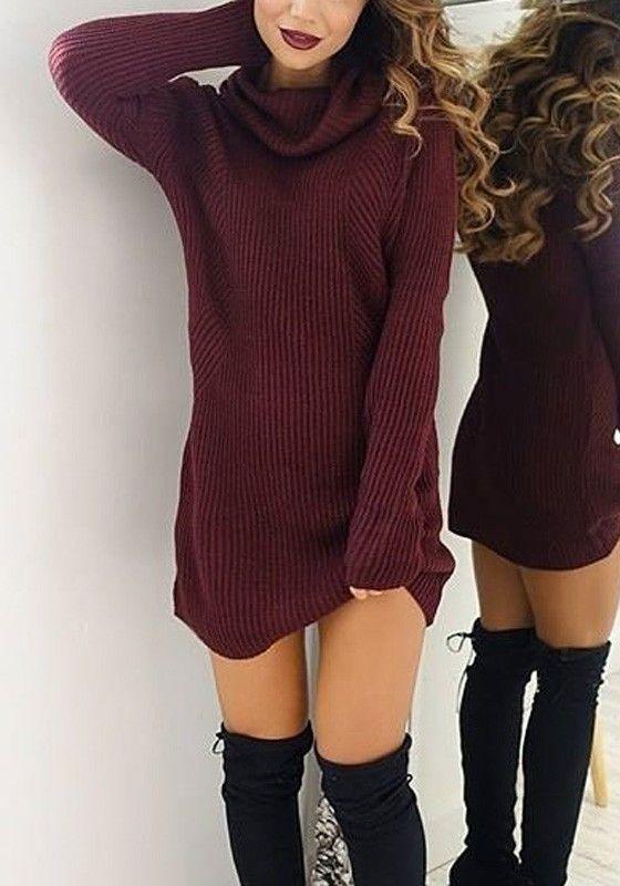Wine Red Plain Draped Collar Long Sleeve Fashion Mini Dress