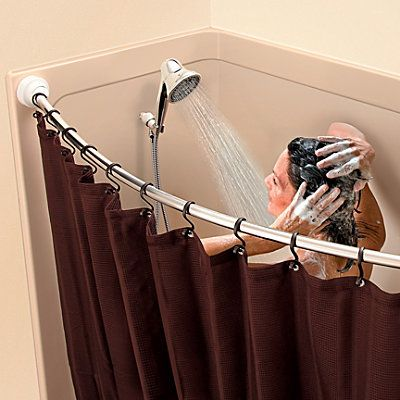 The Rotating Curved Shower Curtain Rod The Rotator Rod Suddenly Makes The Space In The Bathroom Flexible A Shower Curtain Rods Shower Curtain Curtain Rods