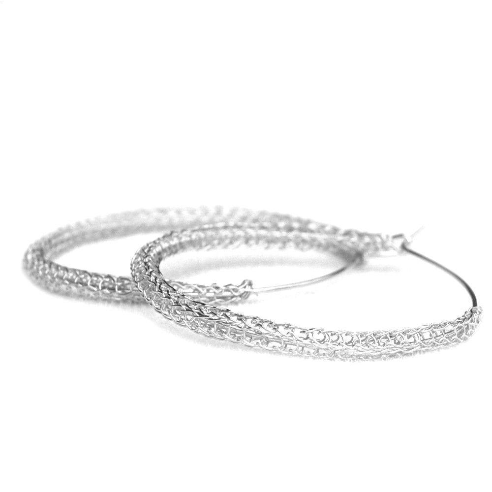 Large Silver hoop earrings , large hoops 4 cm hoop earrings , wire ...