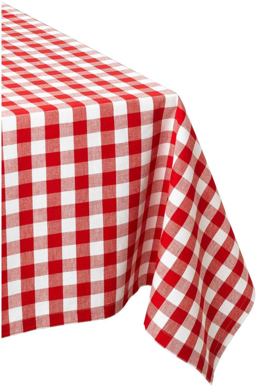 Amazon.com   DII 100% Cotton, Machine Washable Tablecloth Red Check 52x52,