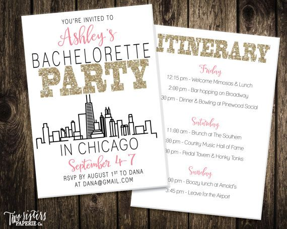 Chicago Bachelorette Party Invitation - CHICAGO Bachelorette Party - fresh blueprint consulting ballarat