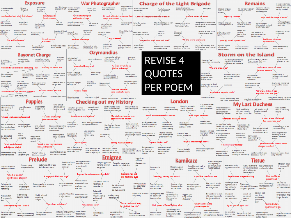 NEW! Power And Conflict Revision Flash Cards - 4 Quotations Per