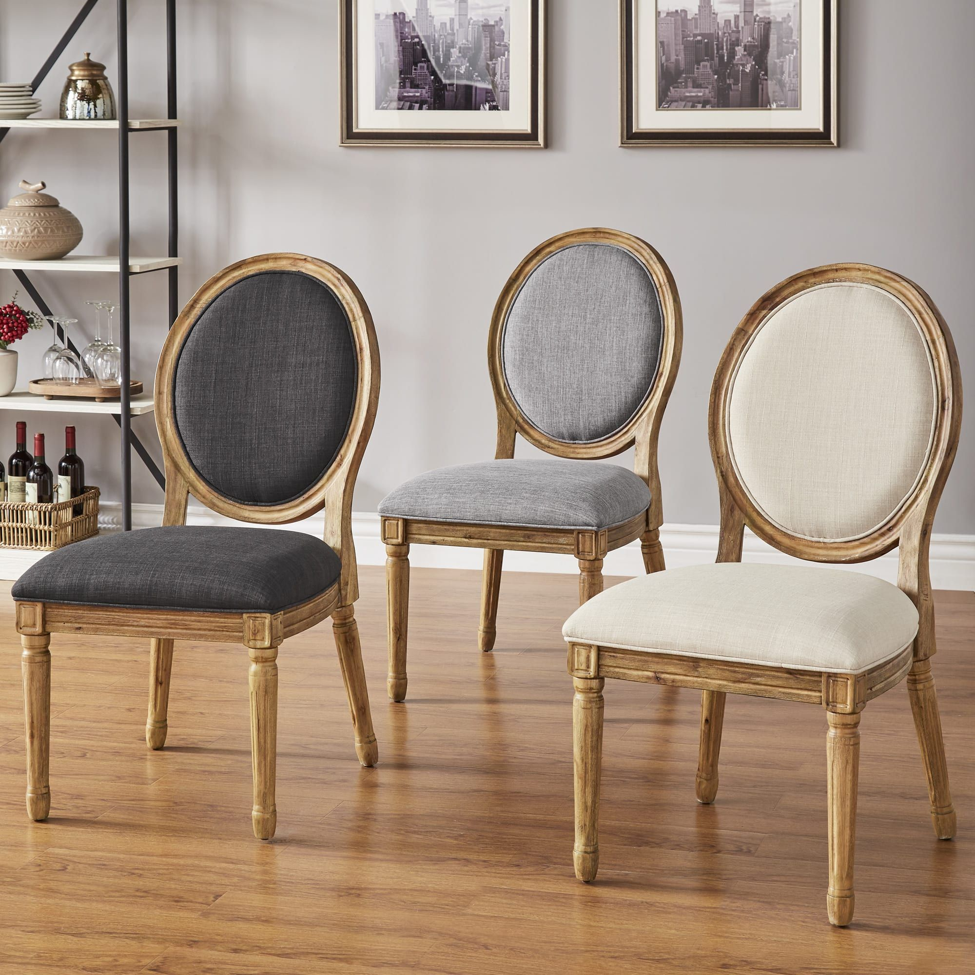 Buy Dining Room Furniture Online: Deana Round Back Linen And Pine Wood Dining Chairs (Set Of