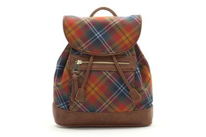 Tartan rucksack from Clarks shoes. Perfect bag for college.