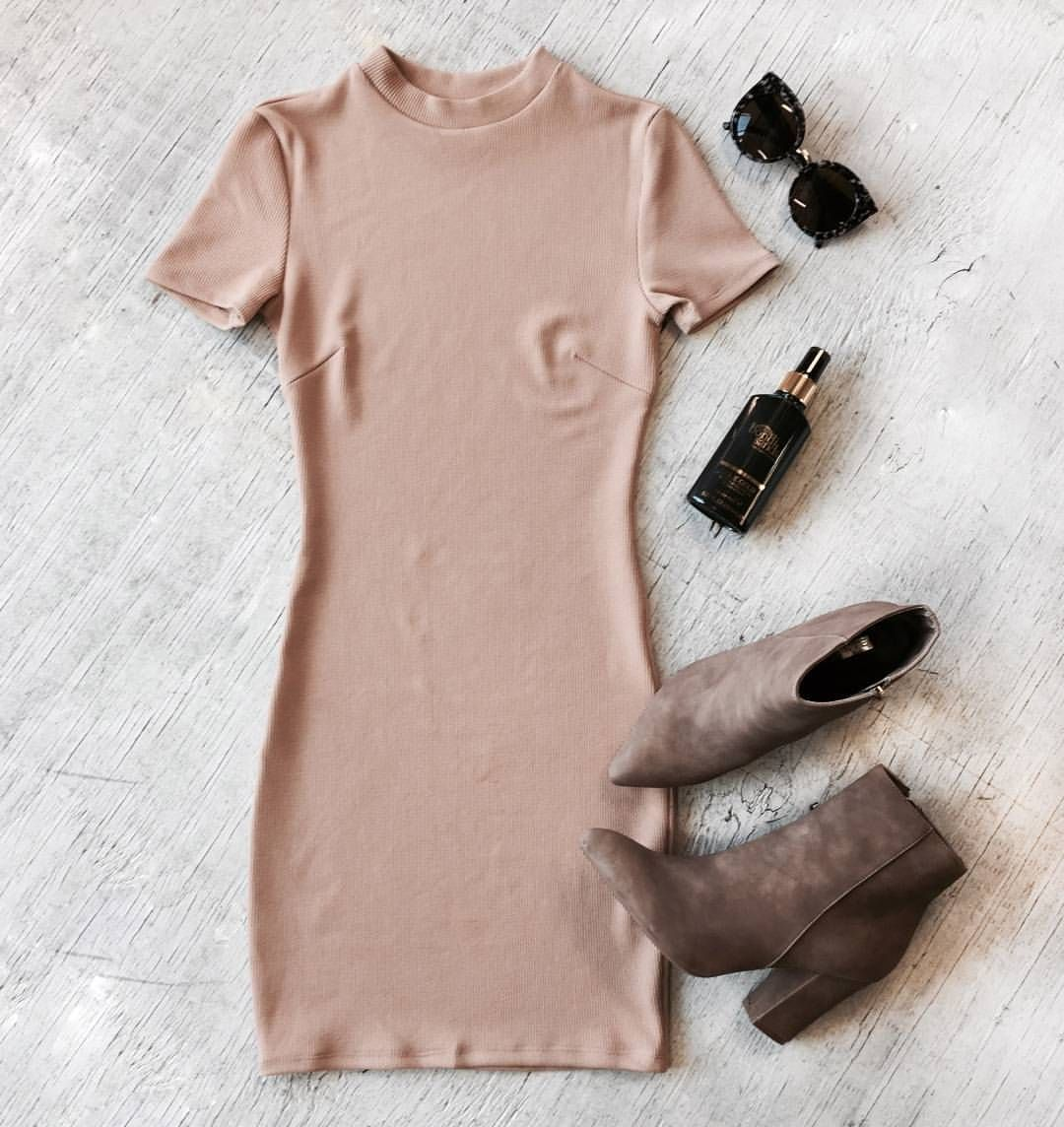 """PRINCESS POLLY on Instagram: """"● TONAL ● Get Kimmy's Yeezy Vibes in the McPherson Dress + Taupe Shea Boots + Liquid Gold by @BondiSands ✔️ All in the Instashop now✔️"""""""