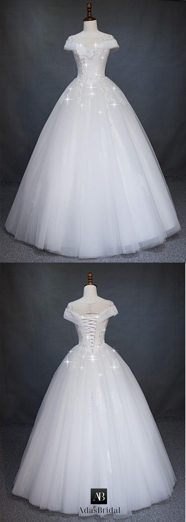 Modest tulle u satin bateau neckline ball gown wedding dress with