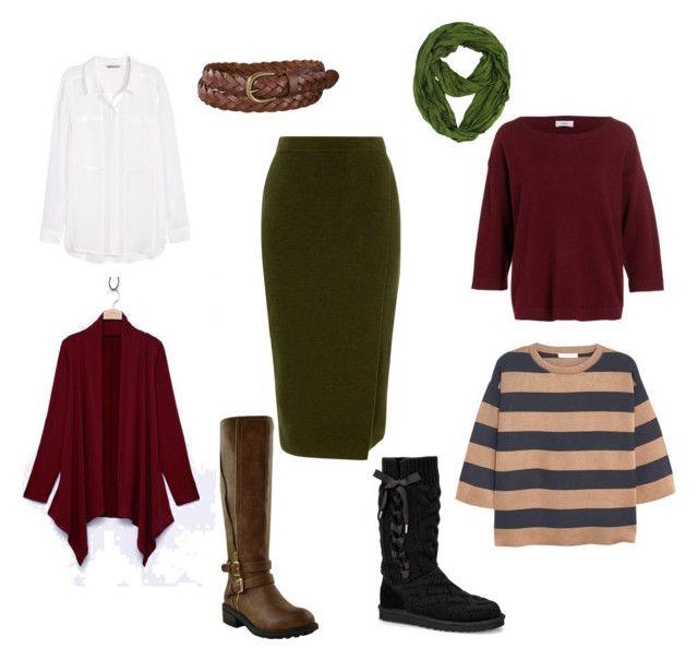 """Green skirt"" by jenyshep on Polyvore featuring мода, Warehouse, H&M, Uniqlo, MANGO и UGG Australia"