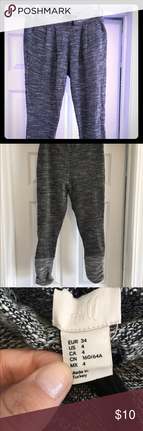 H&M harem pants with pockets. Size 4. These pants just don't fit anymore. Lightly worn and always dry cleaned. The pockets make them super comfortable. The scrunched lighter colored bottoms make a statement. Fits tight through the legs. H&M Pants Leggings
