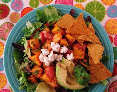 Raw Tropical Fruit Taco Salad *Corn *Lime juice *Flax *Macadamias *Lemon juice *Chia seeds *Strawberries *Apple cider vinegar *Coconut nectar *Olive oil *Habanero *Mango *Pineapple *Cilantro *Red onion *Garlic *Chili powder *Avocados *Salad greens